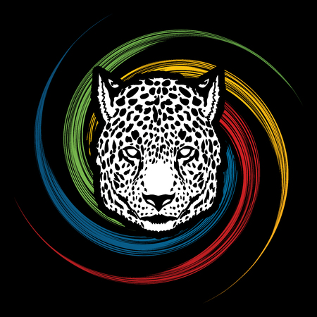 Cheetah head designed on spin wheel background graphic vector.