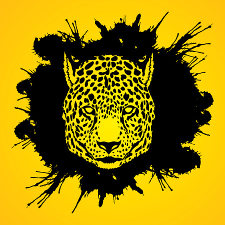 Cheetah head designed on splatter ink background graphic vector.