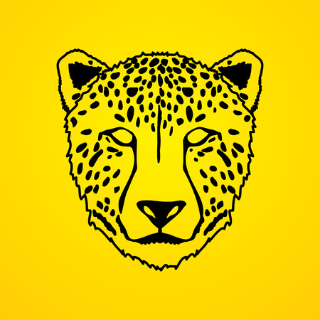 screen printing: Cheetah face outline graphic .