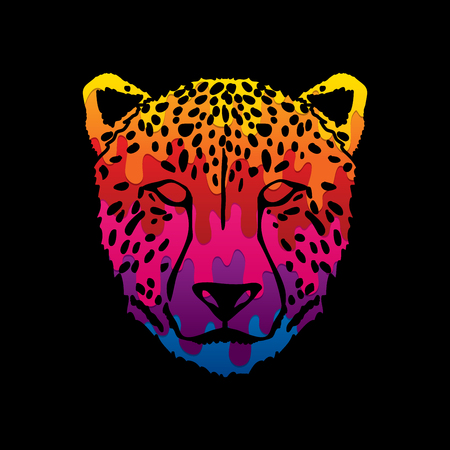 Cheetah face designed using melting colors graphic .