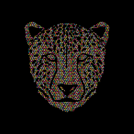 Cheetah face designed using colorful mosaic pattern graphic .