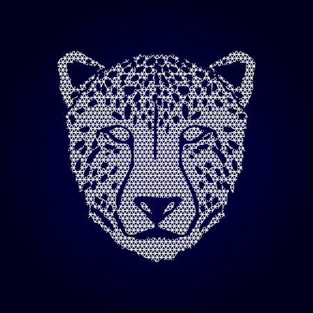 Cheetah face designed using geometric pattern graphic .