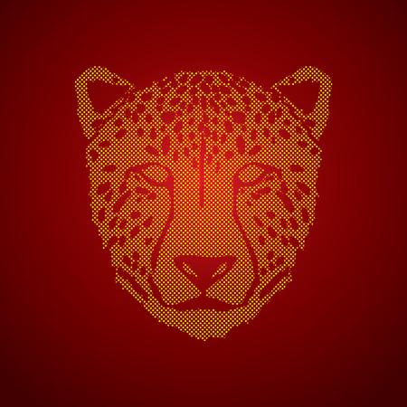 ferocious: Cheetah face designed using dots pixels graphic .