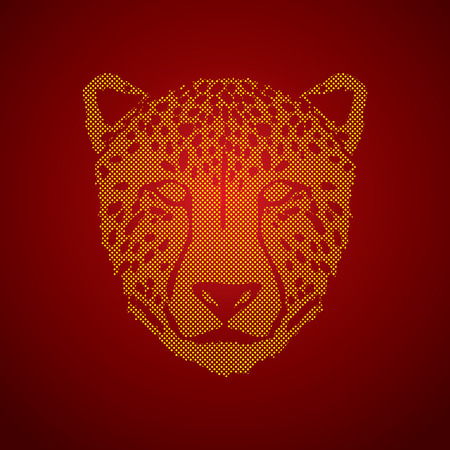 Cheetah face designed using dots pixels graphic .
