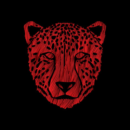Cheetah face designed using red grunge brush graphic . Illustration