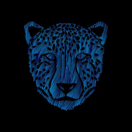 Cheetah face designed using blue grunge brush graphic .