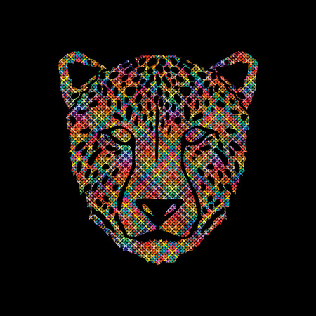 Cheetah face designed using colorful pixels graphic .