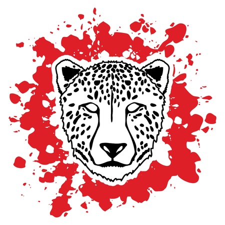 Cheetah face designed on splatter blood background graphic .