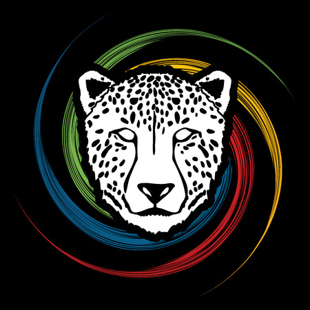 Cheetah face designed on spin wheel background graphic . Illustration