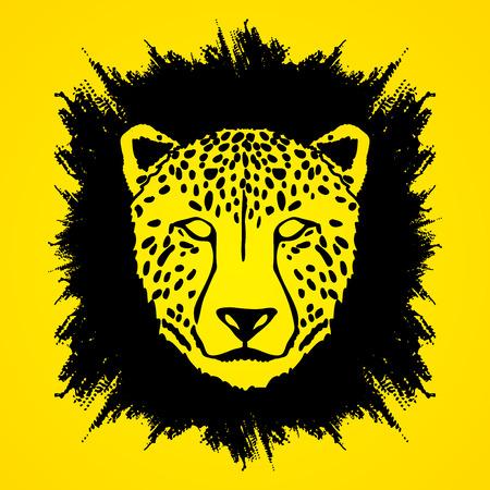 Cheetah face designed on grunge frame background graphic . Illustration