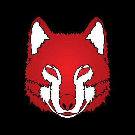 Red Wolf face front view graphic vector.