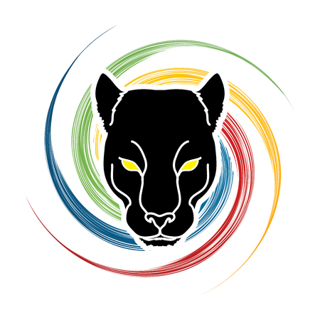 spin: Black Panther Head designed on spin wheel background graphic vector.