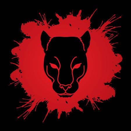 Black Panther Head designed on splash blood background graphic vector.
