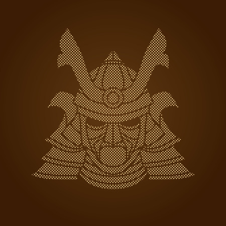 ronin: Samurai mask designed using dots pixels graphic vector.