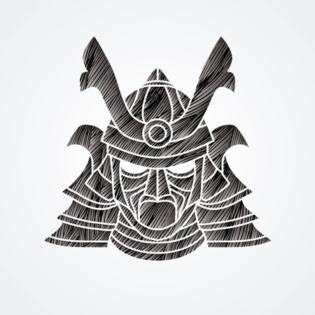 ronin: Samurai mask designed using black grunge brush graphic vector. Illustration