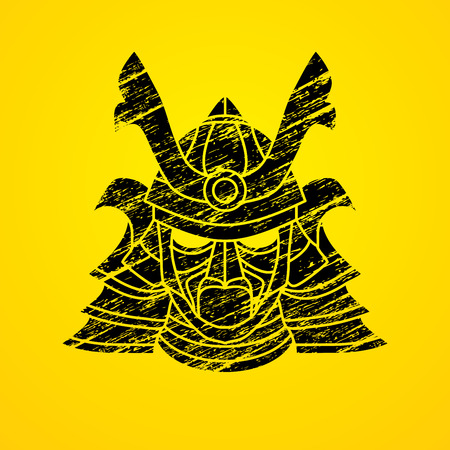 ronin: Samurai mask designed using grunge brush graphic vector.