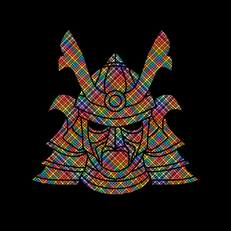 ronin: Samurai mask designed using colorful pixels graphic vector.