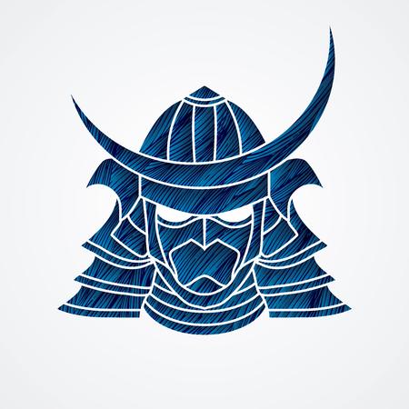 Samurai mask designed using bue grunge brush graphic vector.
