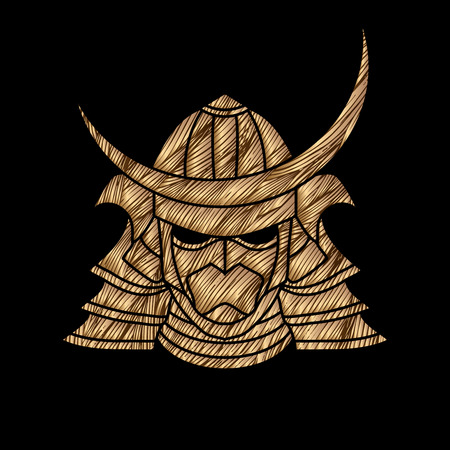 ronin: Samurai mask designed using golden grunge brush graphic vector.