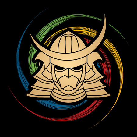 spin: Samurai mask designed on spin wheel background graphic vector.