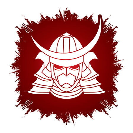 ronin: Samurai mask designed on grunge frame background graphic vector. Illustration