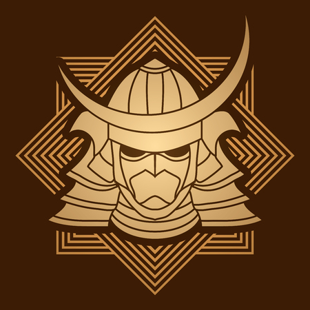 ronin: Samurai mask designed on line square background graphic vector. Illustration