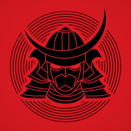shogun: Samurai mask designed on line circle background graphic vector.