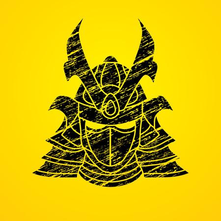 army face: Samurai mask designed using grunge brush graphic vector.