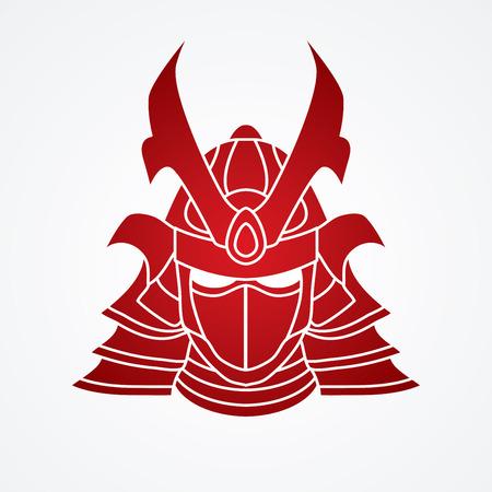 Samurai mask graphic vector.