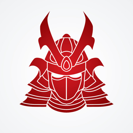 Samurai mask graphic vector.
