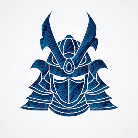 Samurai mask designed using blue grunge brush graphic vector.