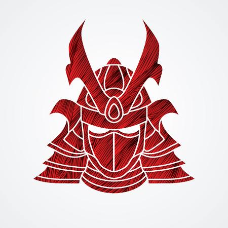 Samurai mask designed using red  grunge brush graphic vector.