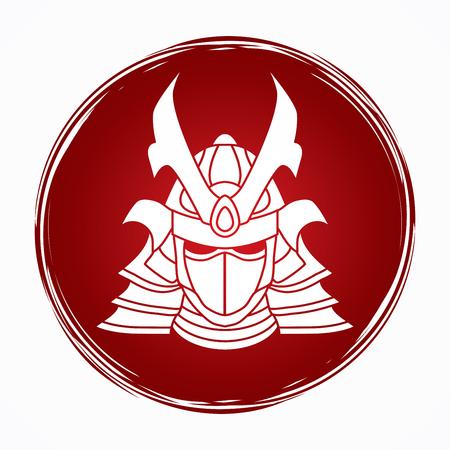 グランジ円背景グラフィック ベクトルに設計されたサムライ マスク。
