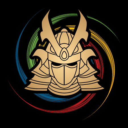 ronin: Samurai mask designed on spin wheel background graphic vector.