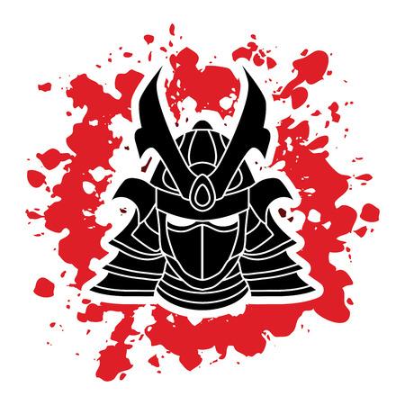 shogun: Samurai mask designed on splatter ink background graphic vector. Illustration