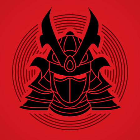 ronin: Samurai mask designed on line circle background graphic vector.