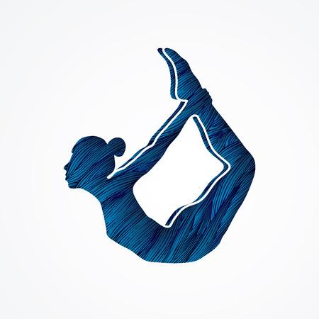 Yoga pose designed using blue grunge brush graphic vector.