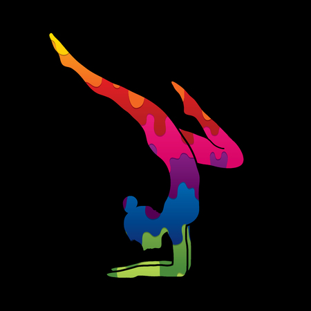Yoga pose designed using melting colors graphic vector.