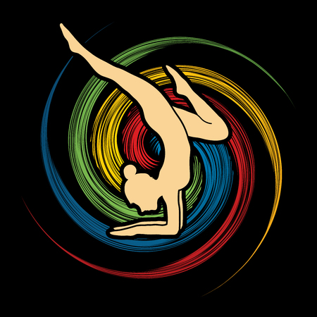 spin: Yoga pose designed on spin wheel background graphic vector.