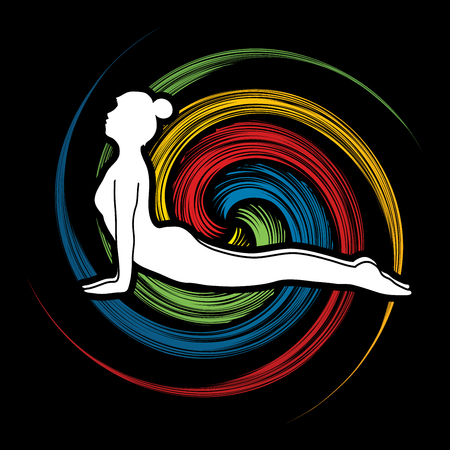 spin wheel: Yoga pose designed on spin wheel background graphic vector.