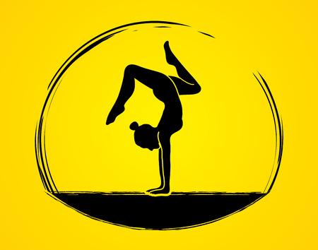 Yoga pose shadow graphic vector. Illustration