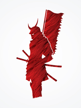 Samurai standing with flag designed using red grunge brush graphic vector.