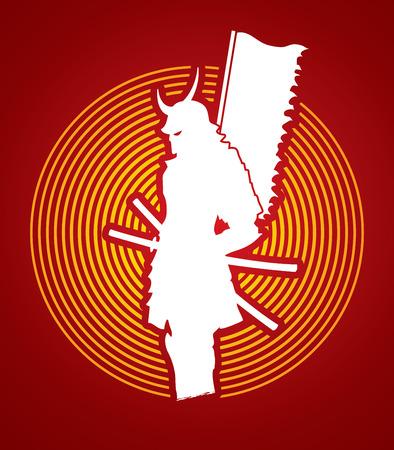 Samurai standing designed on circle light background graphic vector.
