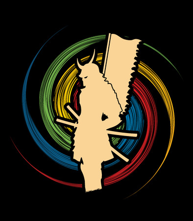 spin: Samurai standing designed on spin wheel background graphic vector.