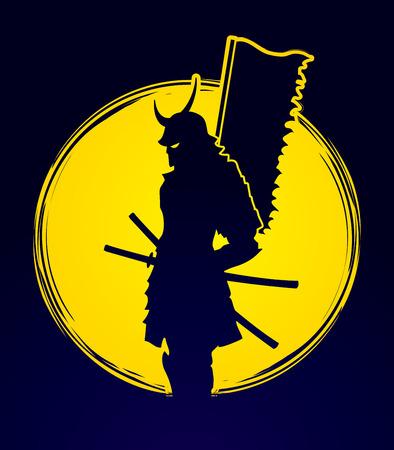 Samurai standing designed on moonlight background graphic vector.