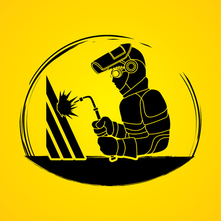 Welder working shape graphic vector. Illustration