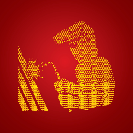 Welder working designed using geometric pattern graphic vector. Illustration