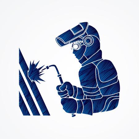 Welder working designed using blue grunge brush graphic vector. Illustration