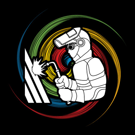 Welder working designed on spin wheel graphic vector.