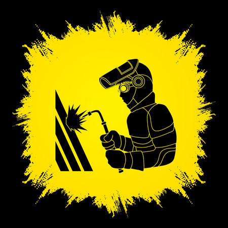 Welder working designed on grunge frame graphic vector. Illustration